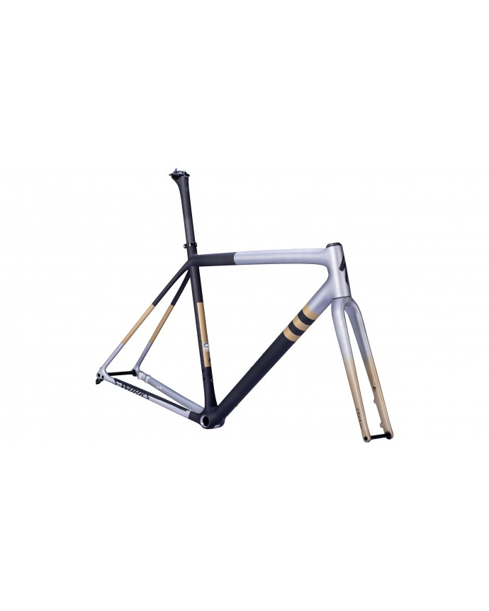 Crux S-Works Cuadro Ciclocross Specialized 2022 Satin Brushed Liquid Silver/Gloss Black/Smoke Marble/Gold Diamond Dust