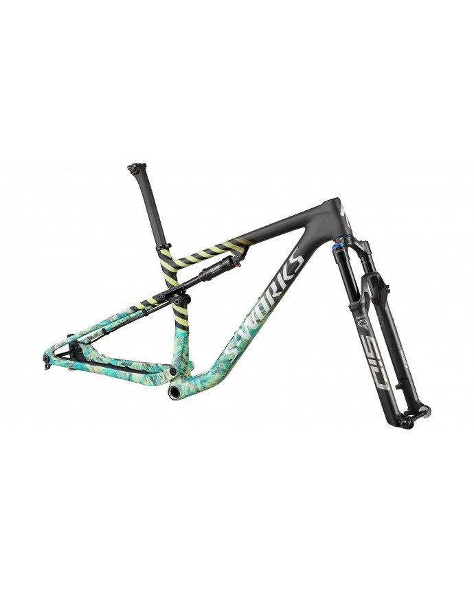Epic S-Works Cuadro Mtb Specialized 2022 Satin Carbon/Lagoon Blue Marble/Spectraflair Granite/Limestone/Gloss Abalone