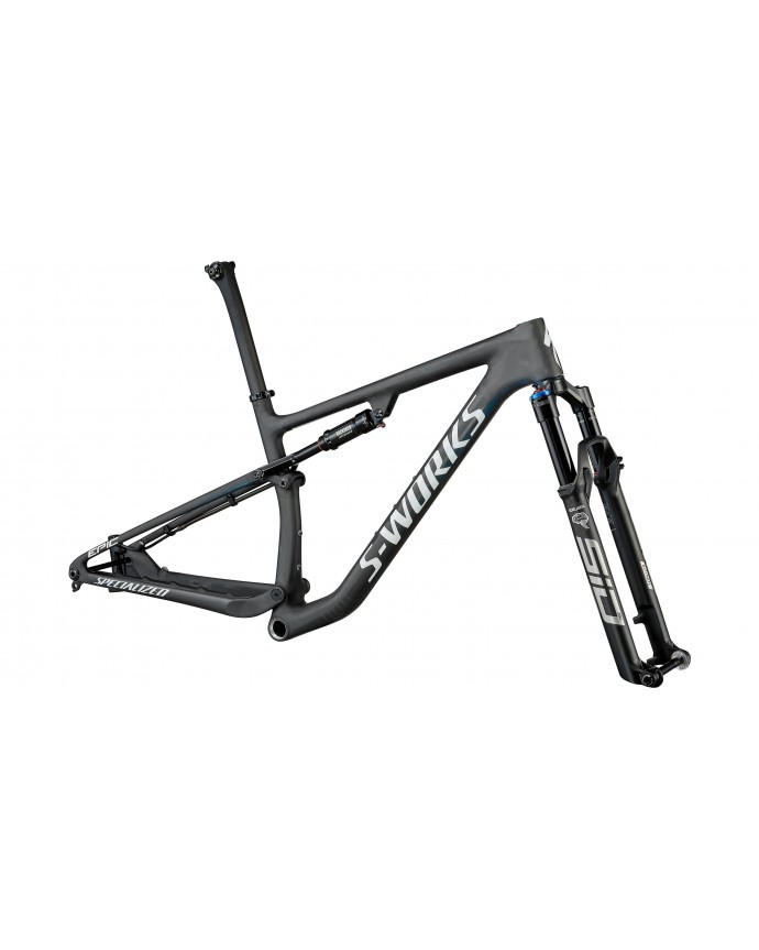Epic S-Works Cuadro Mtb Specialized 2022 Satin Carbon/Color Run Blue Murano Pearl/Gloss Chrome Foil Logos