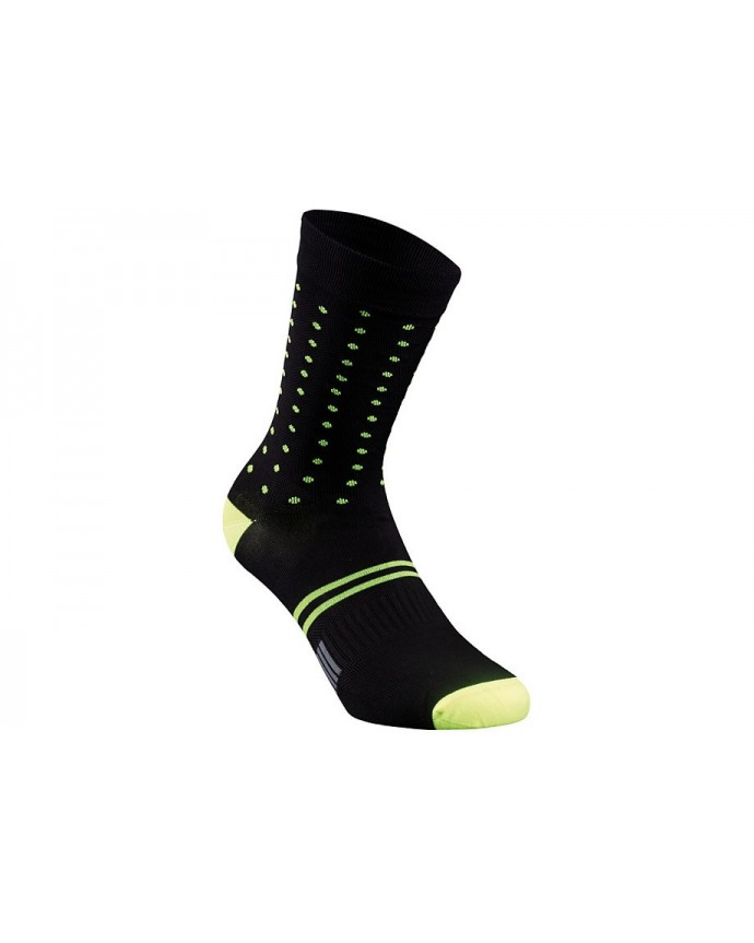 DOTS SUMMER SOCK BLK NEON YEL XL