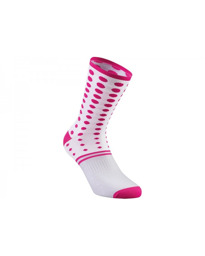 DOTS SUMMER SOCK WHT NEON PNK XL