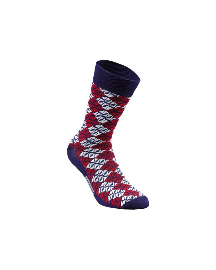 LOZENGE SUMMER SOCK BLU RED XL