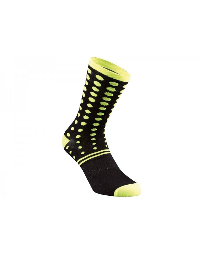 DOTS SUMMER SOCK BLK NEON YEL S