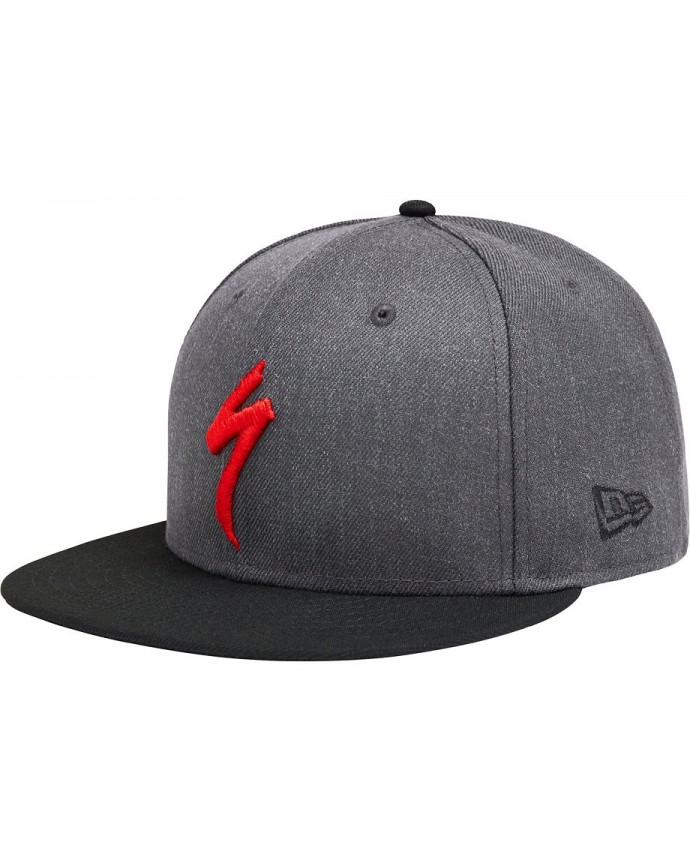 NEW ERA 9FIFTY SNAPBACK HAT S LOGO HTHR GRY BLK RED OSFA