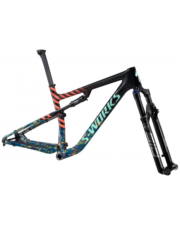 S-Works Epic Carbon 29 Cuadro XC Specialized 2021 Gloss Carbon/Cobalt Marble/Brassy Yellow Marble/Vivid Coral/Oasis