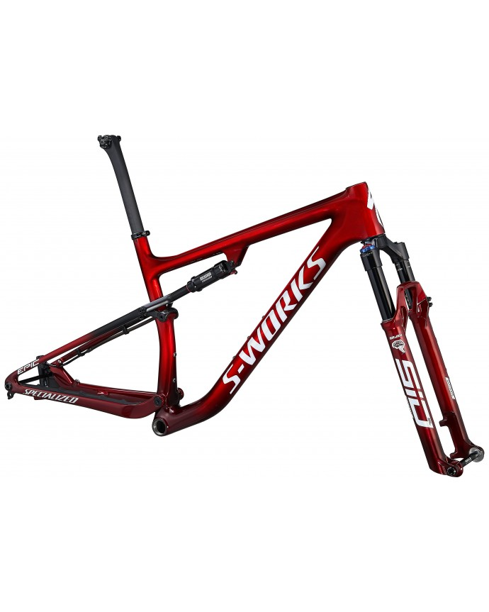 S-Works Epic Carbon 29 Cuadro XC Specialized 2021 Gloss Red Tint Fade Over Brushed Silver/Tarmac Black/White w/ Gold Pearl