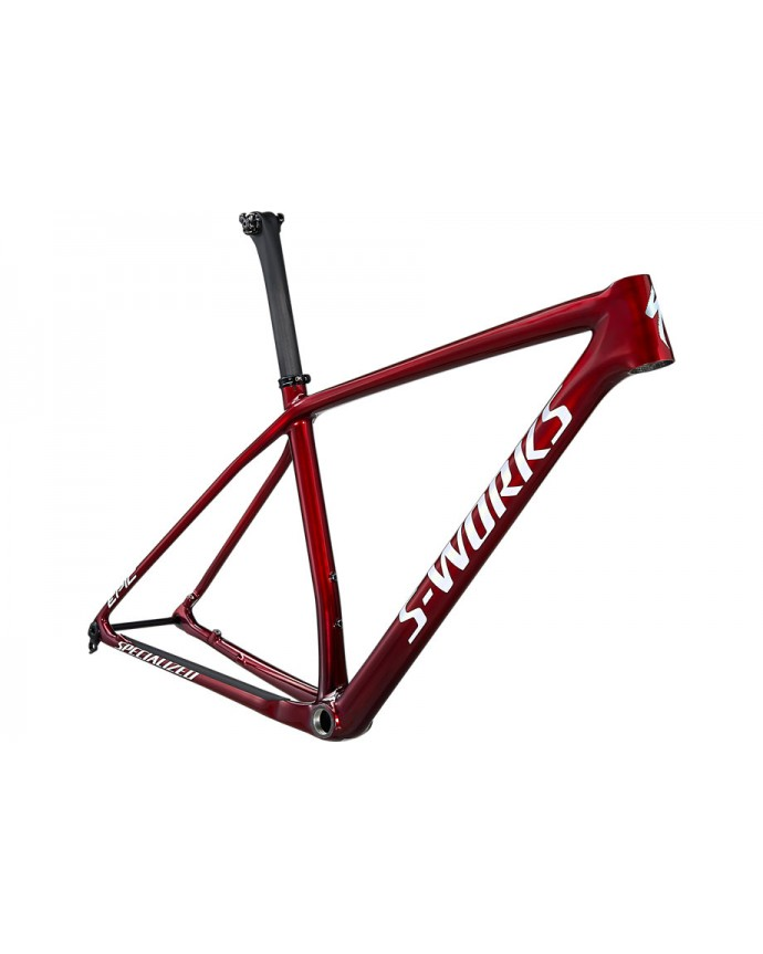 Epic HT S-Works Cuadro MTB Specialized 2021 Gloss Red Tint Fade Over Brushed Silver/Tarmac Black/White W/Gold Pearl