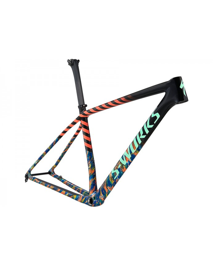 Epic HT S-Works Cuadro MTB Specialized 2021 Gloss Carbon/Cobalt Marble/Brassy Yellow Marble/Vivid Coral/Oasis